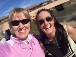 Golfing is such hard work - me on the left and Melissa on the right.